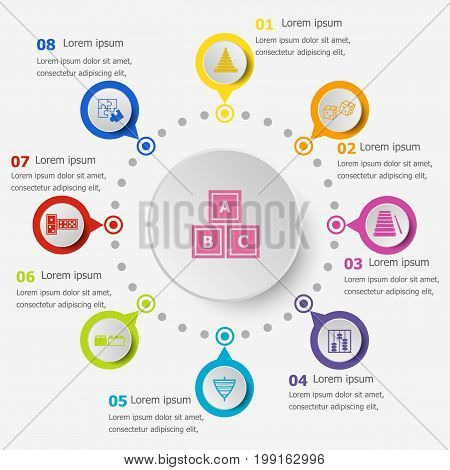 Infographic template with toy icons, stock vector