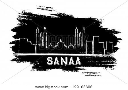Sanaa (Yemen) Skyline Silhouette. Hand Drawn Sketch. Business Travel and Tourism Concept with Modern Architecture. Image for Presentation Banner Placard and Web Site.