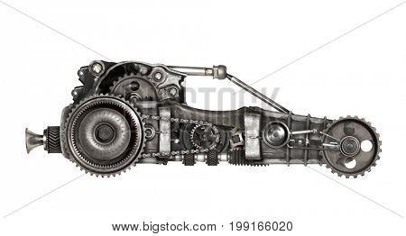 Steampunk style futuristic car. Mechanical photo compilation