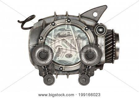Steampunk style piggy bank. Mechanical animal photo compilation