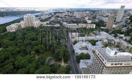Kiev, Ukraine, July 16, 2017. Aerial view of Mariinsky Park
