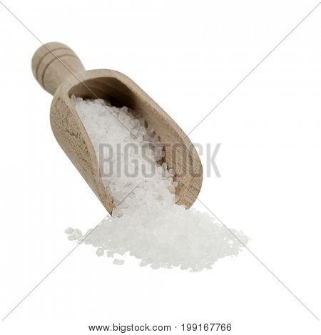 Sea salt on wooden spoon isolated on white background.