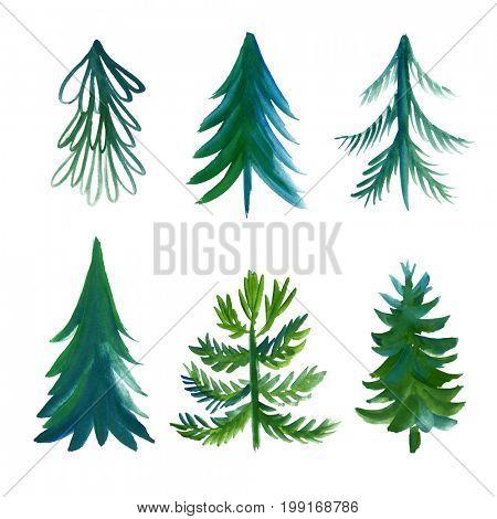 Set of watercolor xmas trees