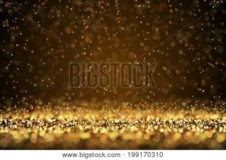 Falling hot sparks background with bokeh effect. Christmas holiday backdrop. 3D rendering.
