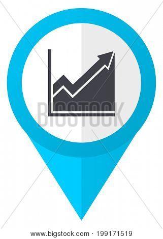 Histogram blue pointer icon