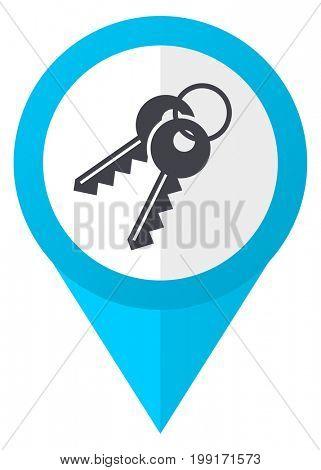 Keys blue pointer icon