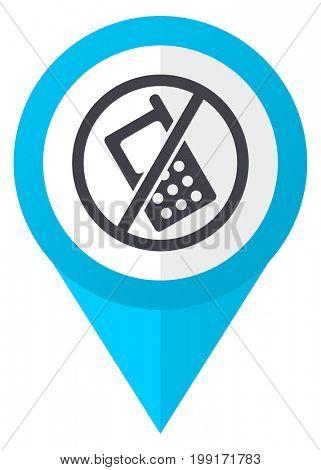 No phone blue pointer icon