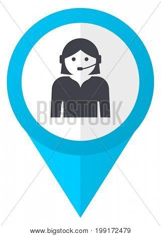 Female blue pointer icon