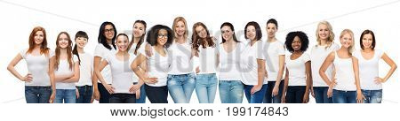 friendship, diverse, body positive and people concept - group of happy different age and ethnicity women in white t-shirts hugging