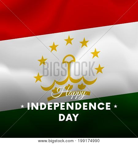 Banner or poster of Tajikistan independence day celebration. Waving flag. Vector illustration.