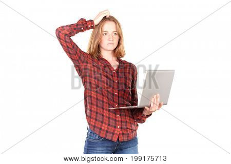 Portrait of female high school student using laptop