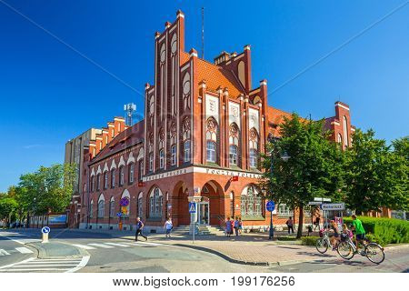 TCZEW, POLAND - AUGUST 8, 2017: Beautiful architecture of historical post office in Tczew city, Poland. Tczew is a town at Vistula River in northern Poland.