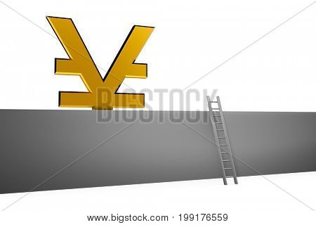 3d illustration golden currency RMB sign with ladder on white