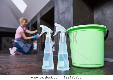 service woman cleaning home
