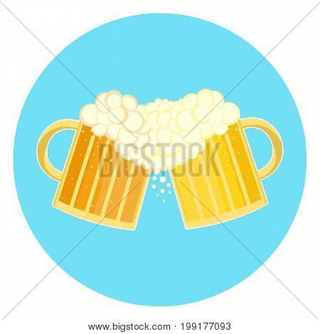 Flat colorful two beer glasses toast cheers symbol. Toasting foamy ale pints icon. Nice color traditional german oktoberfest beer holiday sign