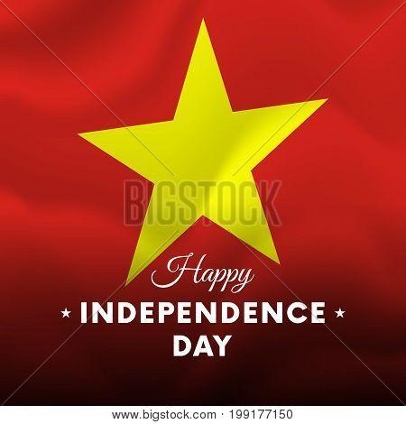 Banner or poster of Vietnam independence day celebration. Waving flag. Vector illustration.