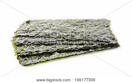 Sheet of dried seaweed Crispy seaweed isolated on white background.