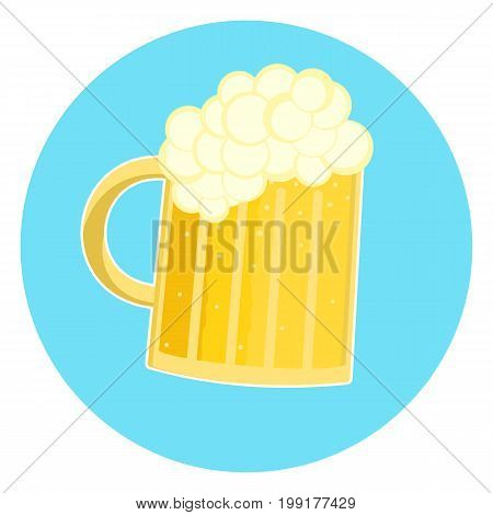Flat nice glass of foamy yellow beer icon pint of ale. Nice color traditional german oktoberfest beer holiday sign