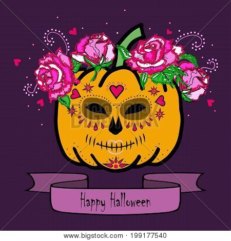Pumpkin with Mask of Death and pink roses. Happy Halloween. Day of the dead (Dia de los muertos). Isolated on white background. Vector.