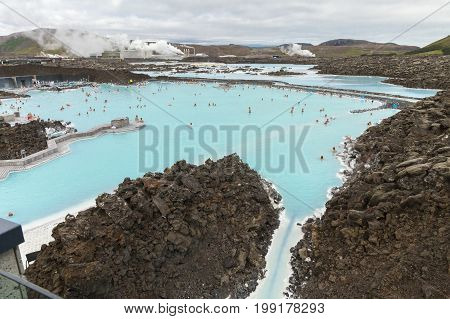 August 10, 2015 Iceland Blue Lagoon: It is located on the Reykjanes peninsula in south-western Iceland . The Bath  it is one of Iceland's most visited sites with more than 400,000 visitors annually.
