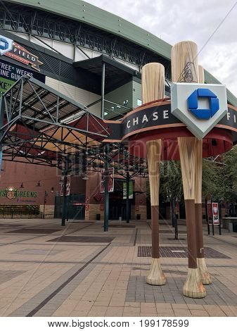 PHOENIX AZ USA - AUGUST 2 2017: Arizona Diamondbacks home stadium in Phoenix downtown Chase Field.