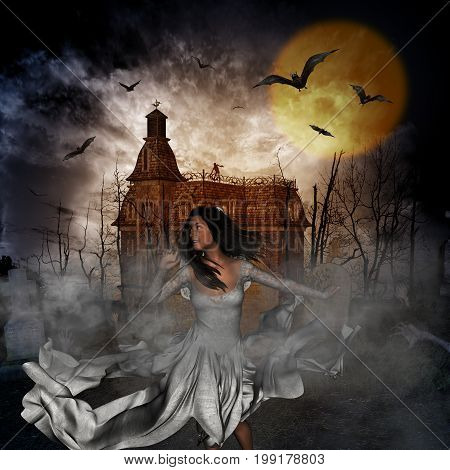 3D illustration of a halloween concept background with woman runaway from dark castle and lost in graveyard