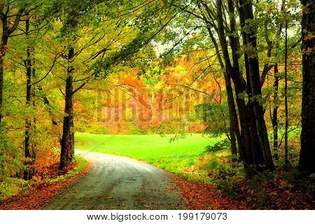 Scenic rural autumn drive in Vermont