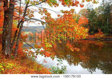 Scenic Ottauquechee river near Woodstock Vermont