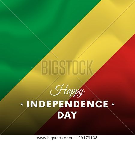 Banner or poster of Congo independence day celebration. Waving flag. Vector illustration.