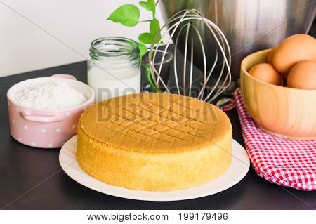 Homemade sponge cake on plate.Soft and lite delicious sponge cake with ingredients: eggs flour milk on granite table. Homemade cake with ingredients in homemade bakery concept for bakery background. Soft and delicious sponge cake.