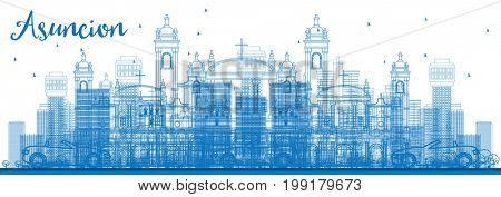 Outline Asuncion Skyline with Blue Buildings. Business Travel and Tourism Concept with Modern Architecture. Image for Presentation Banner Placard and Web Site