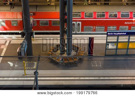 BERLIN - AUGUST 08 2015: Berlin Central Railway Station. Top view of the platform. The central station of Berlin - the largest and modern railway station of Europe.