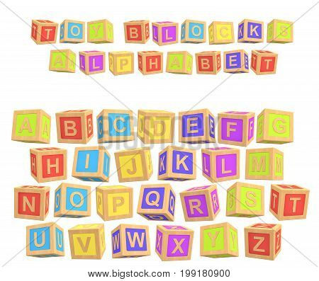 3d rendering of a colorful alphabet with a writing Toy Blocks Alphabet above all letters. Primary education. Kindergarten. Preschool learning.