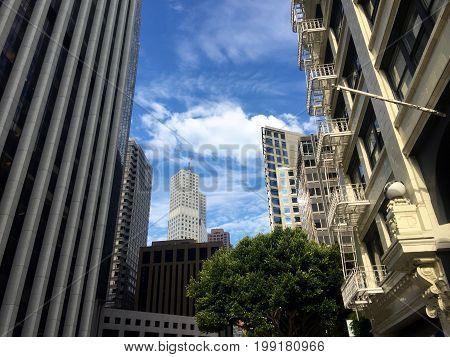 San Francisco High-rise Skyscrapers/Skyline against a blue sky.