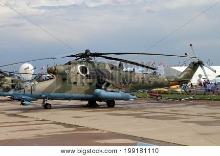 Moscow Region - July 21 2017: Military Helicopter Mi-35M at the International Aviation and Space Salon (MAKS) in Zhukovsky.