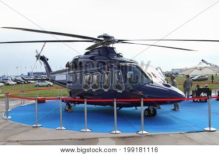 Moscow Region - July 21 2017: Civil multipurpose passenger helicopter AgustaWestland AW139 at the International Aviation and Space Salon (MAKS) in Zhukovsky.