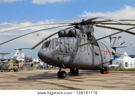 Moscow Region - July 21 2017: Heavy multipurpose transport helicopter Mi-26 at the International Aviation and Space Salon (MAKS) in Zhukovsky.