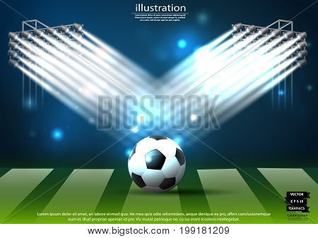 Football - Soccer field Background - modern Idea and Concept Vector illustration  Infographic template  with  Spotlights.