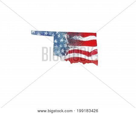 United States Of America. Watercolor texture of American flag. Oklahoma.