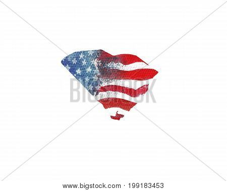 United States Of America. Watercolor texture of American flag. South Carolina.