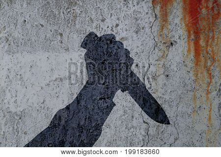 Silhouette of human hand with killing knife on bloody wall background. Illustration for criminal news.