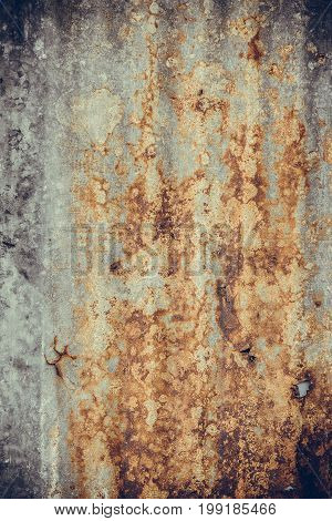 Old Rusty Corrugated Tin Zinc Metal Wall In Vintage Tone