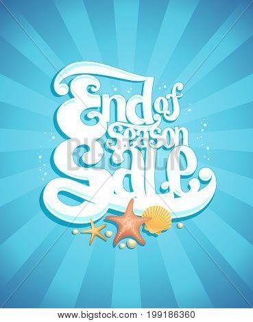 End of season sale poster, vector advertising illustration, marine style, raster version