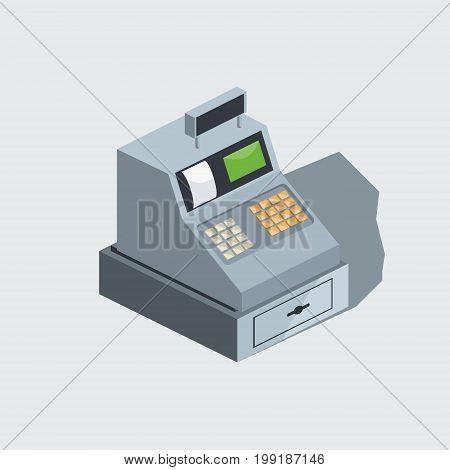 Cash machine. Colorful minimalistic isometric style vector illustration