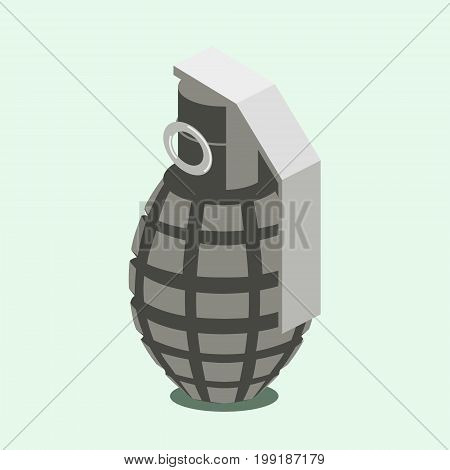 Hand grenade. Colorful minimalistic isometric style vector illustration