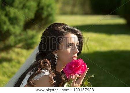 wedding woman or bride in veil and dress with red rose flower sunny summer outdoor
