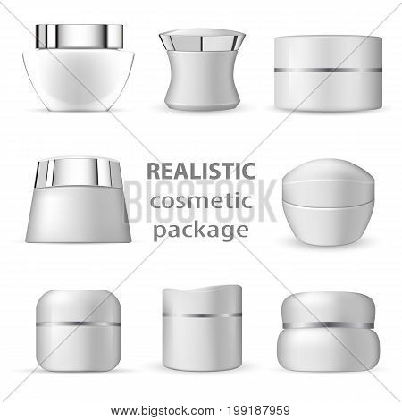 3d white realistic cosmetic package icon set empty tubes on white background vector illustration. 3d white realistic cosmetic package collection of isolated beauty product images creams.