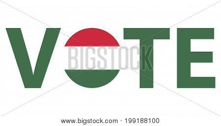 Voting Symbols vector design. template Elections icons. check marks. Patriotic voting poster. Presidential election in Hungary. Typographic banner with round flag of the Hungary.