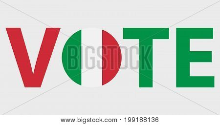 Voting Symbols vector design. template Elections icons. check marks. Patriotic voting poster. Presidential election in Italy. Typographic banner with round flag of the Italy.