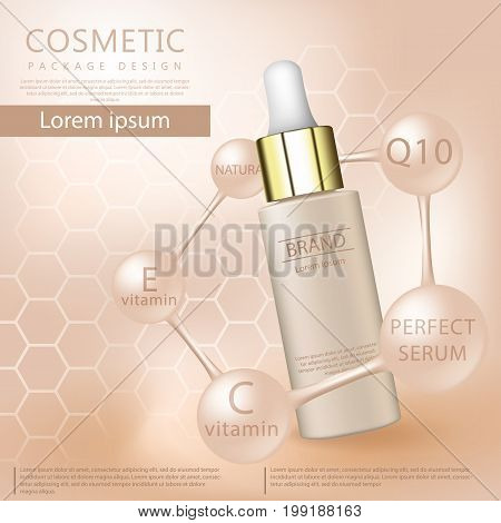 Realistic 3d cosmetic design template. Cosmetic ads template, essence bottle with glitter elements on the background, 3d illustration. 3D cosmetic oil for the promotion of foundation premium product.